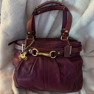 Coach Leather Hamptons Carry All Handbag in Berry